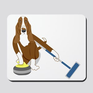 Basset Hound Curling Mousepad
