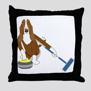 Basset Hound Curling Throw Pillow