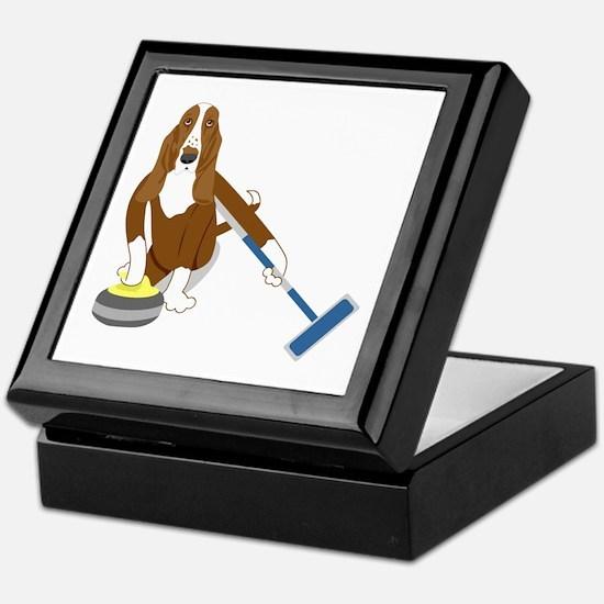 Basset Hound Curling Keepsake Box