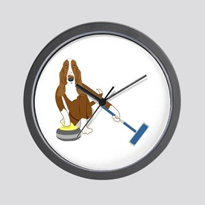 Basset Hound Curling Wall Clock
