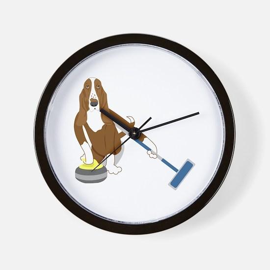 Basset Hound Curling Wall Clock