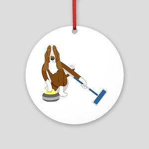 Basset Hound Curling Ornament (Round)