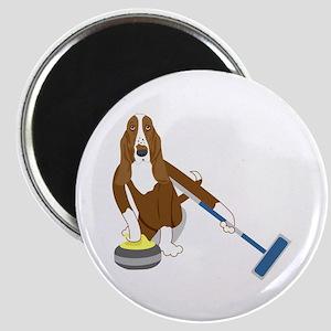 Basset Hound Curling Magnet