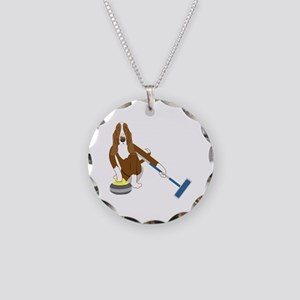 Basset Hound Curling Necklace Circle Charm