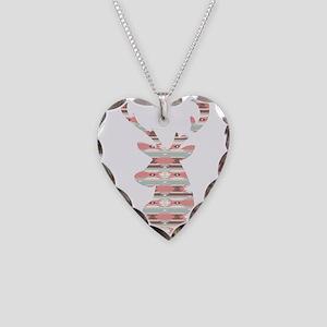 Tribal Pattern Deer Head Necklace Heart Charm