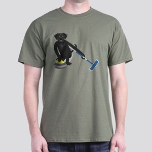 Black Lab Curling Dark T-Shirt