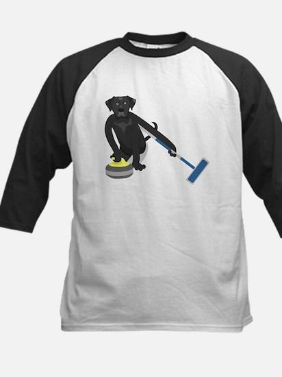 Black Lab Curling Kids Baseball Jersey