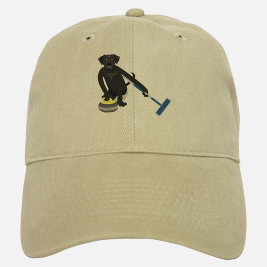 Black Lab Curling Baseball Baseball Cap