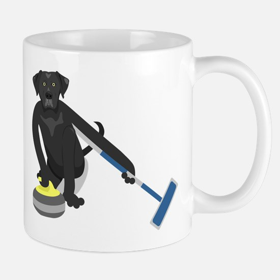 Black Lab Curling Mug