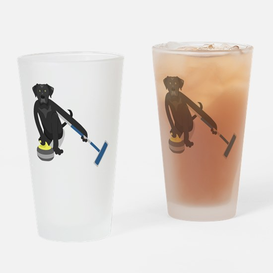 Black Lab Curling Drinking Glass
