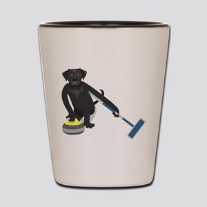 Black Lab Curling Shot Glass