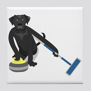 Black Lab Curling Tile Coaster