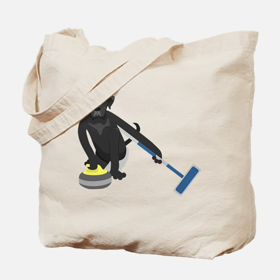 Black Lab Curling Tote Bag