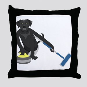 Black Lab Curling Throw Pillow