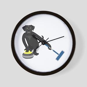 Black Lab Curling Wall Clock