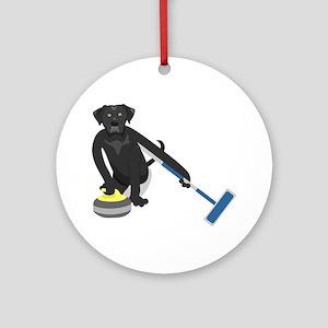 Black Lab Curling Ornament (Round)