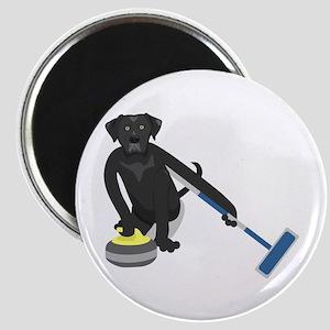 Black Lab Curling Magnet