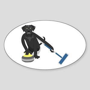 Black Lab Curling Sticker (Oval)