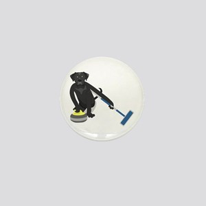 Black Lab Curling Mini Button
