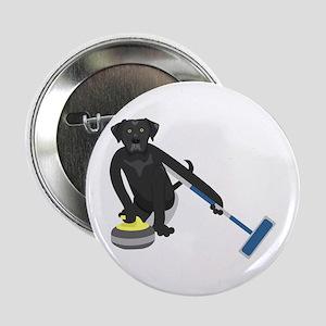 """Black Lab Curling 2.25"""" Button"""