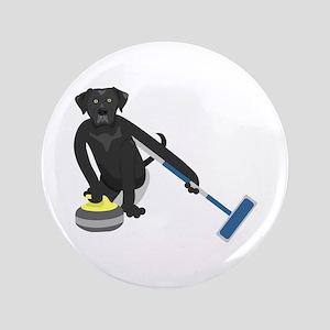 """Black Lab Curling 3.5"""" Button"""