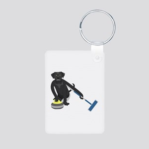 Black Lab Curling Aluminum Photo Keychain