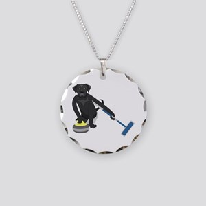 Black Lab Curling Necklace Circle Charm