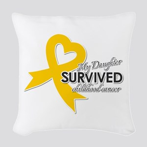My Daughter Survived Childhood Woven Throw Pillow