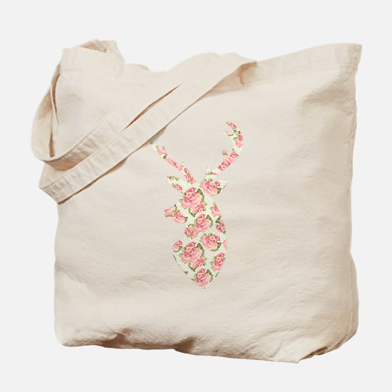 Vintage Roses Pattern Deer Head Shape Tote Bag