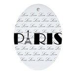 Paris Eiffel Tower on Love Ornament (Oval)