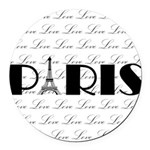 Paris Eiffel Tower on Love Round Car Magnet