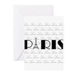 Paris Eiffel Tower on Love Greeting Cards