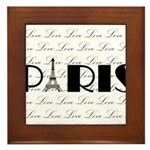 Paris Eiffel Tower on Love Framed Tile
