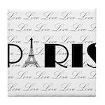 Paris Eiffel Tower on Love Tile Coaster