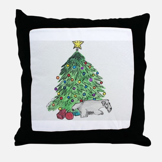 "Cesky Terrier ""My Tree"" Throw Pillow"