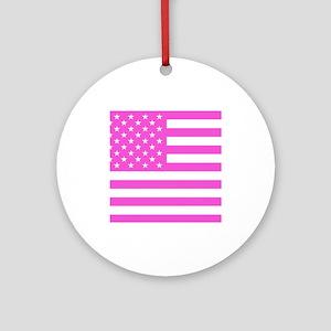 U.S. Flag: Pink Ornament (Round)