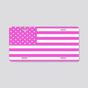 U.S. Flag: Pink Aluminum License Plate