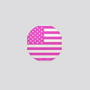 U.S. Flag: Pink Mini Button