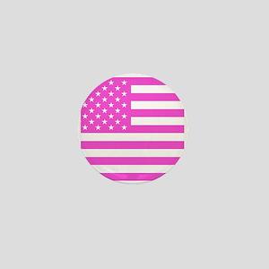 U.S. Flag: Pink Mini Button