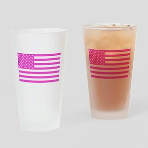 U.S. Flag: Pink Drinking Glass