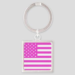 U.S. Flag: Pink Square Keychain