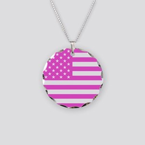 U.S. Flag: Pink Necklace Circle Charm