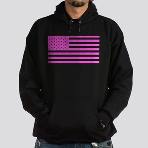 U.S. Flag: Pink Hoodie (dark)