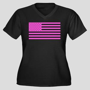 U.S. Flag: P Women's Plus Size V-Neck Dark T-Shirt