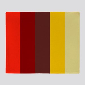 Red Maroon Gold Striped Throw Blanket