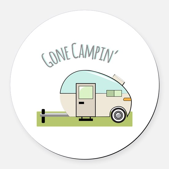 Gone Campin Round Car Magnet