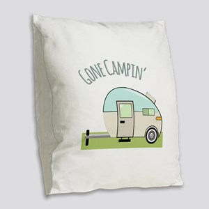 Gone Campin Burlap Throw Pillow