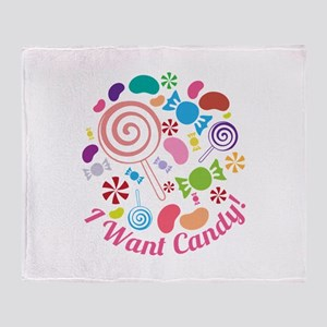 I Want Candy Throw Blanket