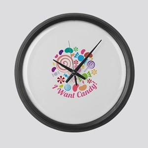 I Want Candy Large Wall Clock