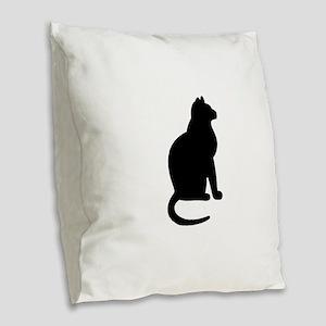 Cat Silhouette Burlap Throw Pillow